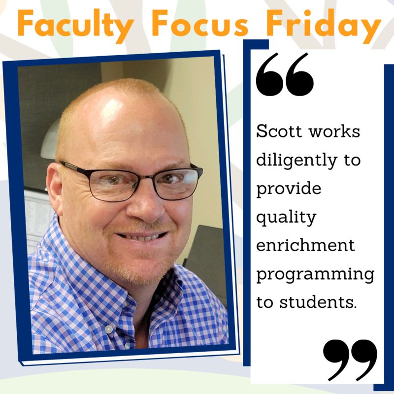 Scott Payne at his desk with the Faculty Focus Friday border around his picture