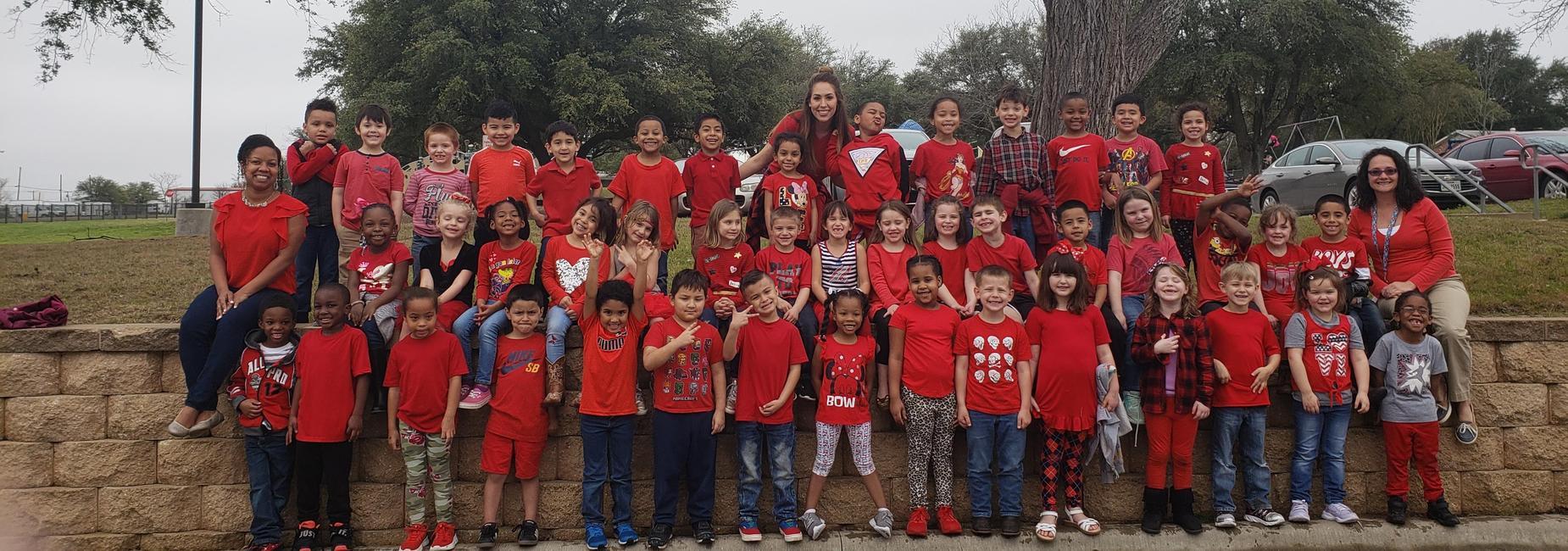 Kinder. kids wear Red for reading!