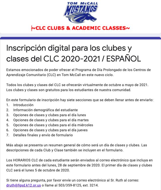 CLC Digital Registration form image in Spanish