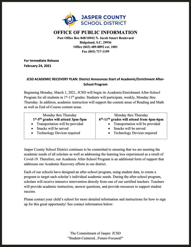 JCSD ACADEMIC RECOVERY PLAN: District Announces Start of Academic/Enrichment After- School Program