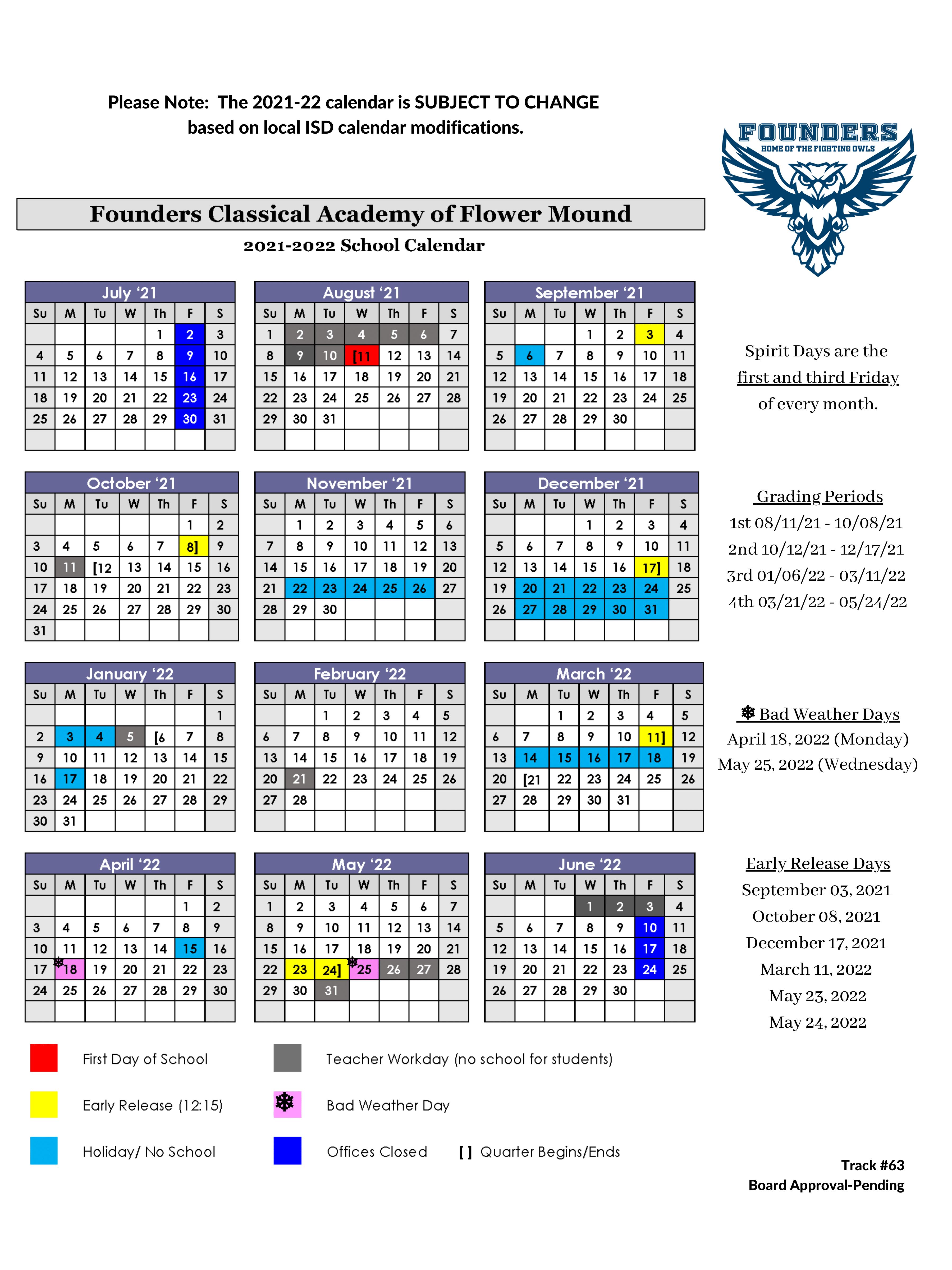 calendar for 2021/2022