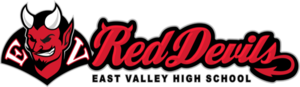 Red devil primary logo with Red Devils and mascot.
