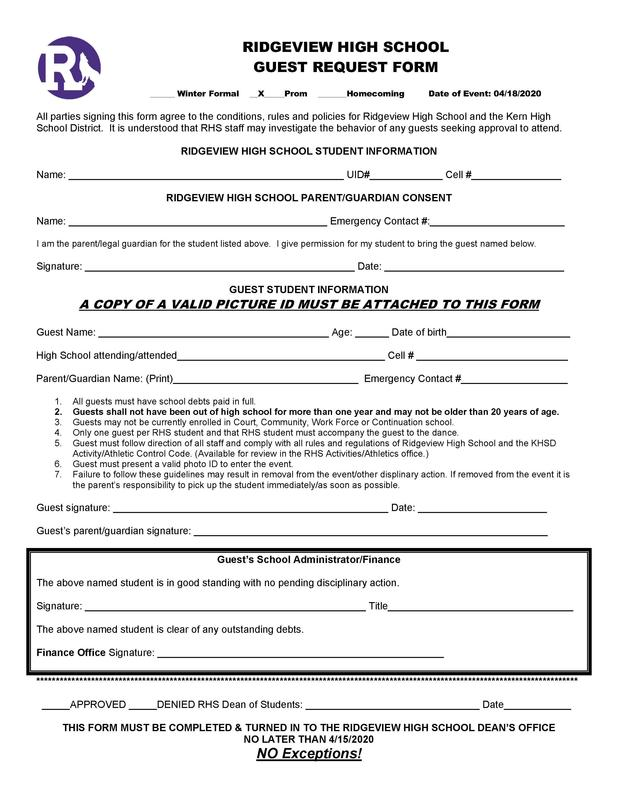 Ridgeview High School Guest Request Form Thumbnail Image