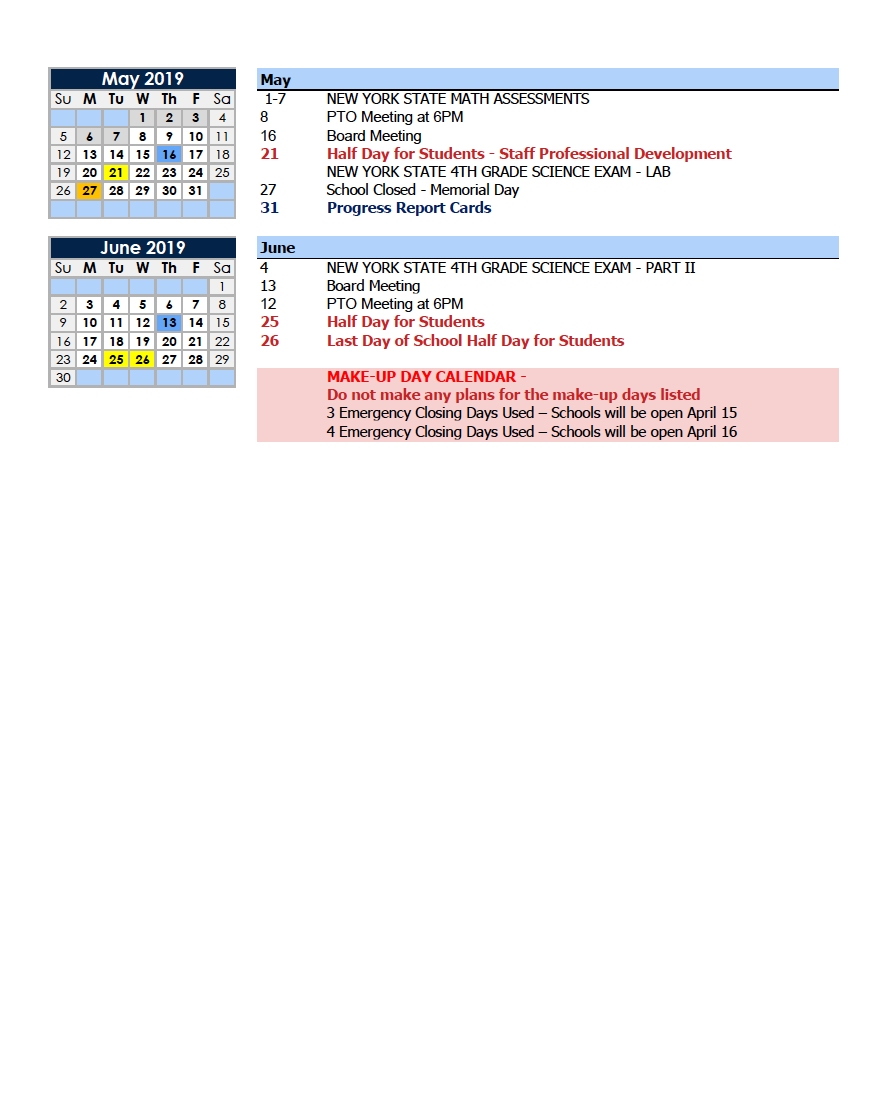 Calendars Parents Charter School Of Educational Excellence