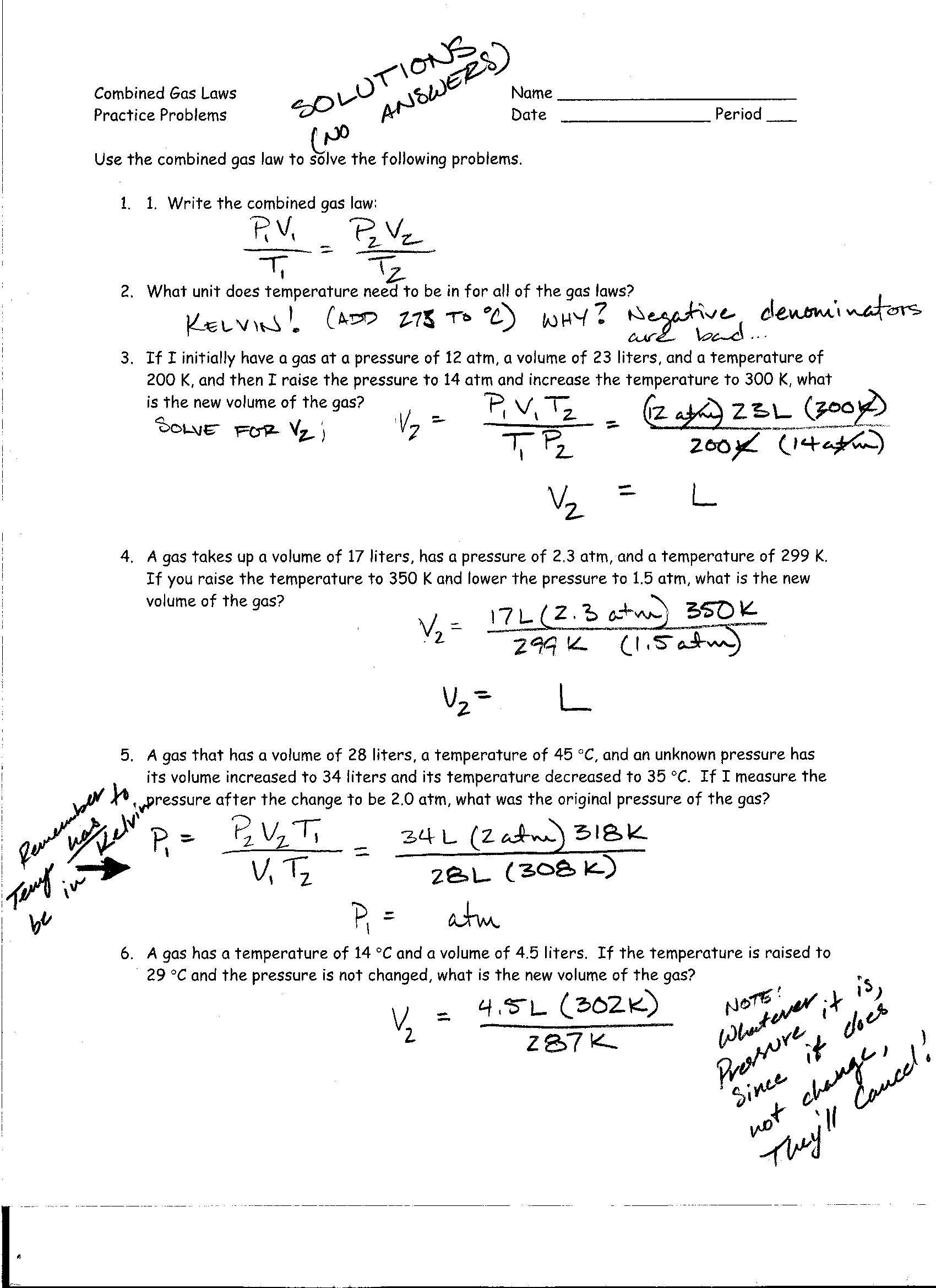 Chemistry Combined Gas Laws Worksheet Answer Key With Work ...