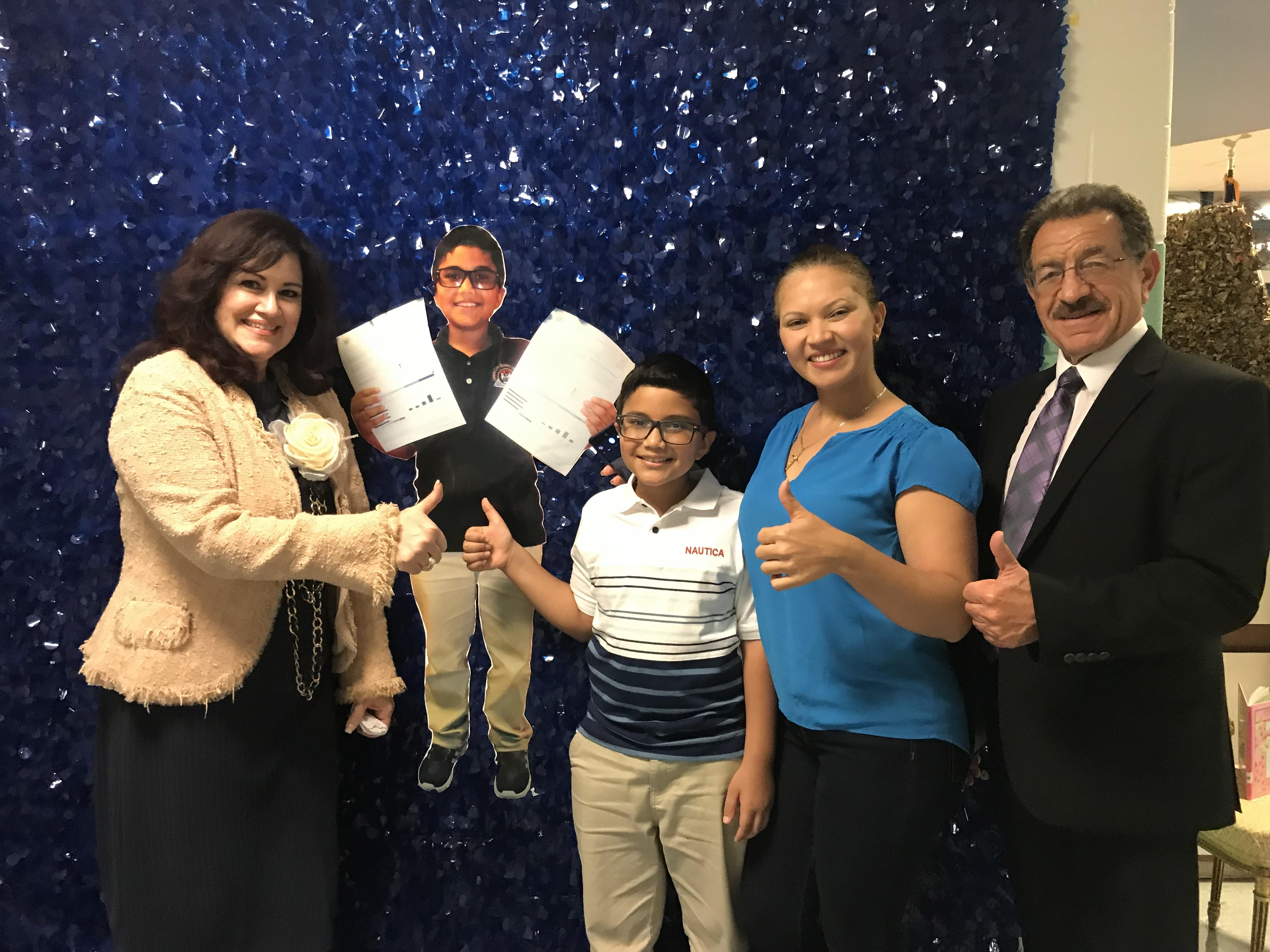 K. Hernandez , mrs diaz, mr perigine, and his mom.  Perfect Parcc score