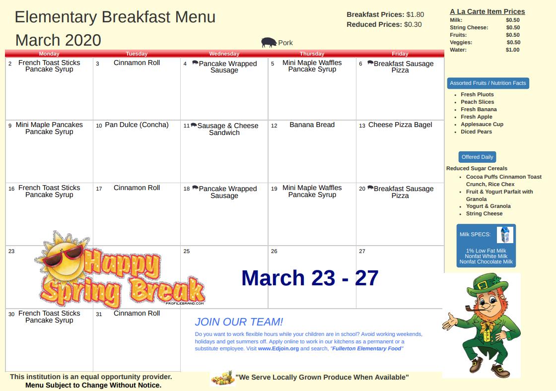 March 2020 Breakfast Menu