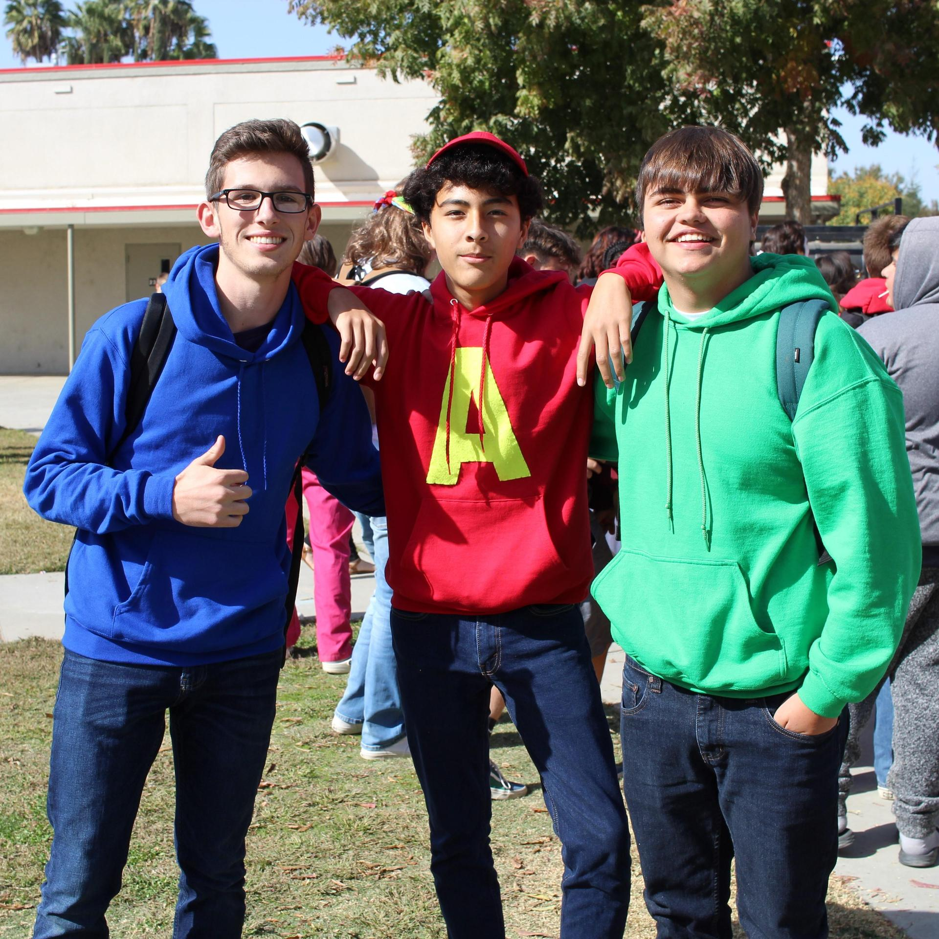 Dylan Shambaugh, Nicolas Lopez and Bradley Hobart as Alvin and the Chipmunks