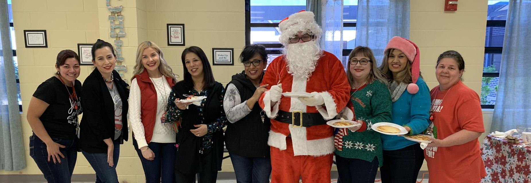 Santa with staff at breakfast