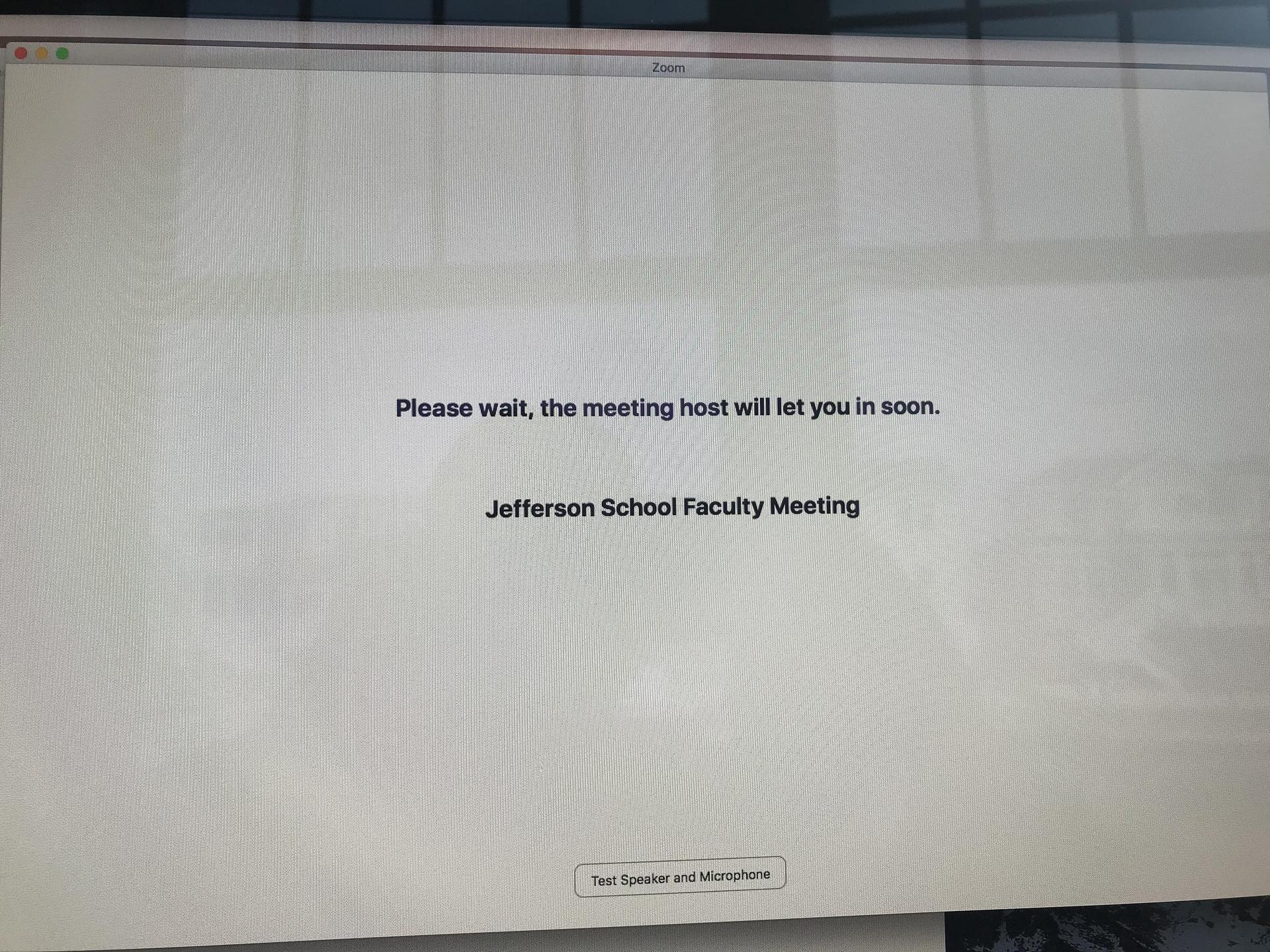 faculty meeting zoom