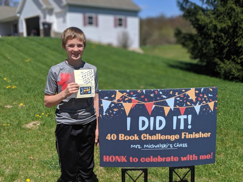 Fifth-grader Camden Peter completed a 40-book challenge given by his teacher at the start of the year.