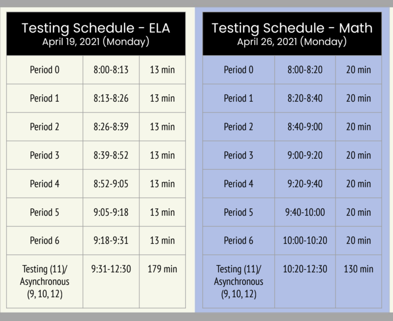 SPECIAL SCHEDULES 4/19 & 4/26 -  SBAC TESTING Thumbnail Image