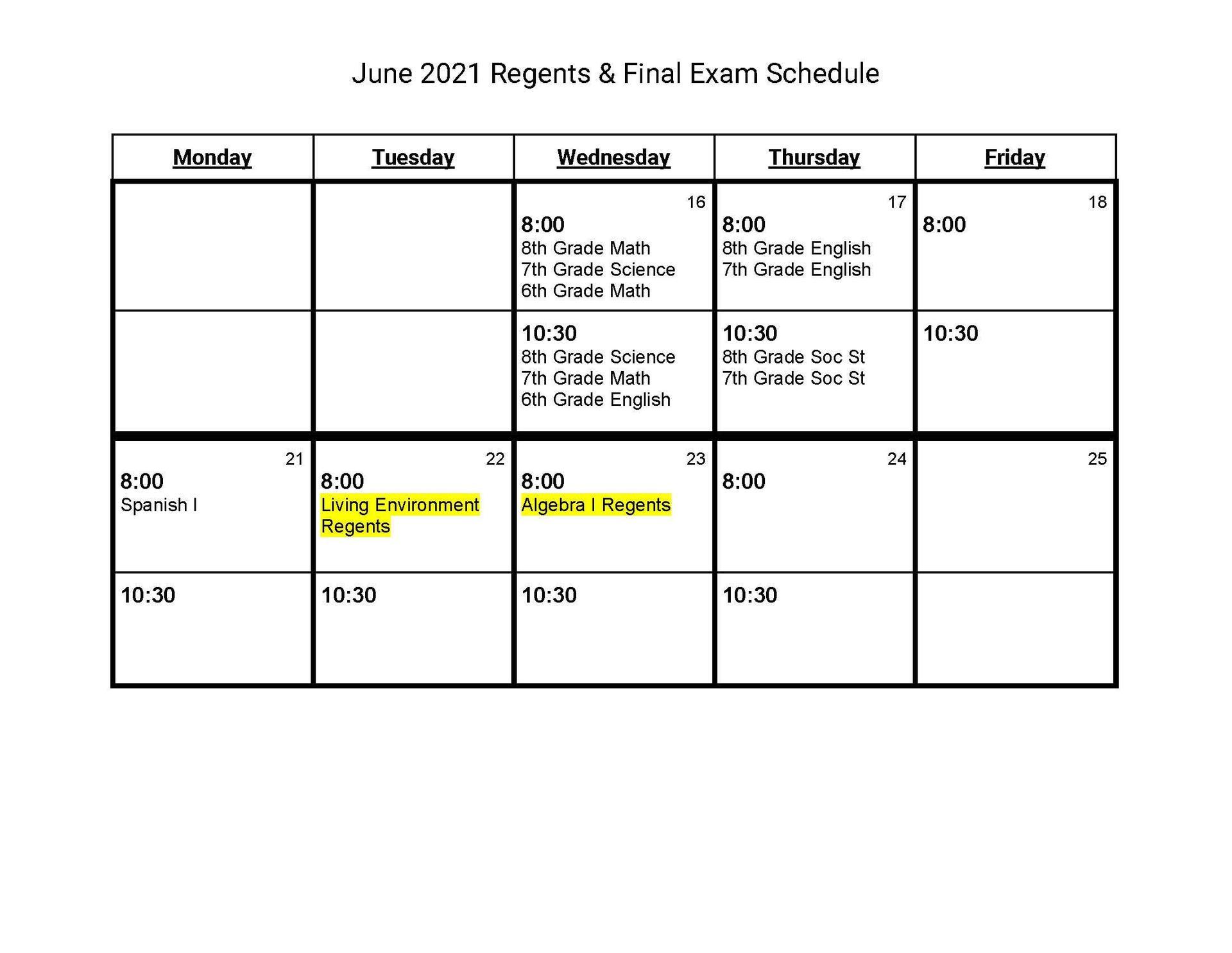 2021 MS Final Exam Schedule