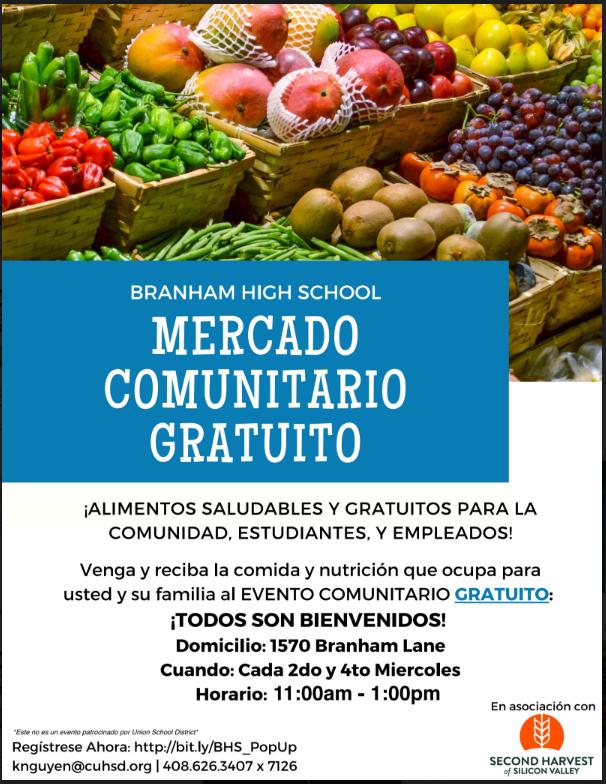 Branham Pop up Market Spanish Flyer