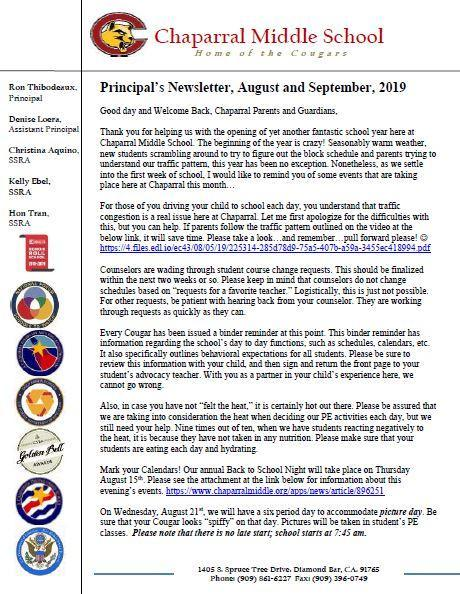 Principal's Newsletter, October, 2019 Featured Photo