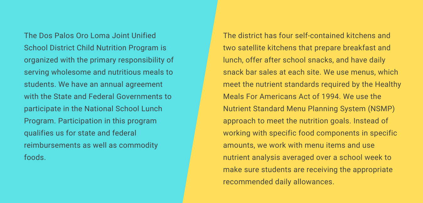 Half blue/yellow sections. Food Service child nutrition program's primary responsibility is serving wholesome and nutritious meals to students.
