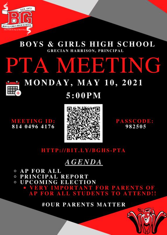BGHS PTA Meeting -  May 10 2021 - 5:00 PM