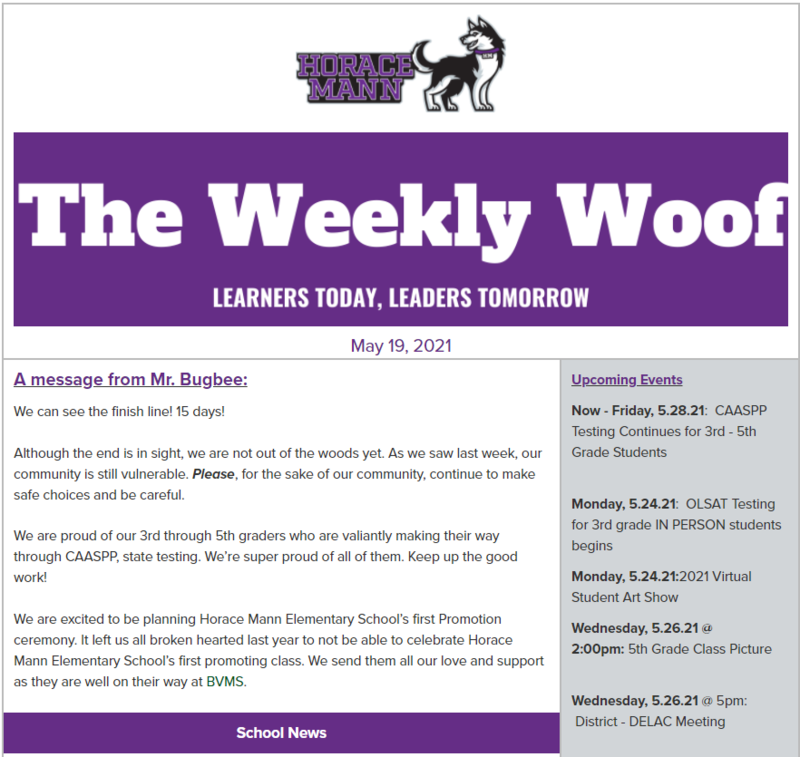 The Weekly Woof Newsletter for May 19, 2021