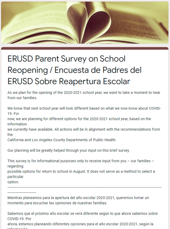 School reopen survey