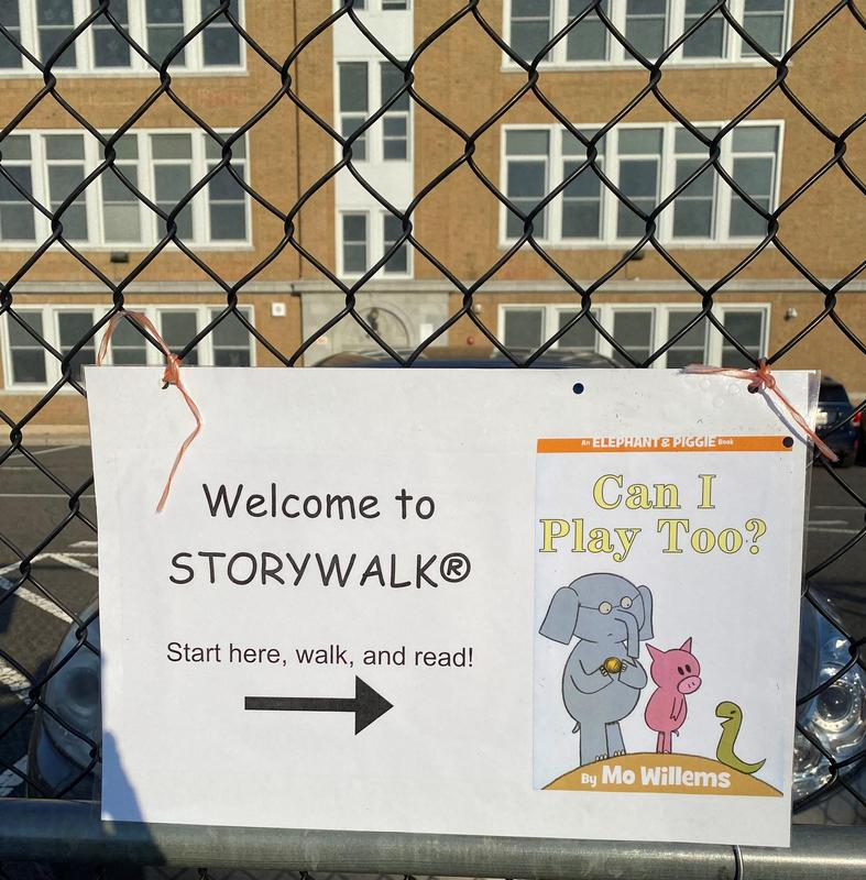 Photo of Storywalk sign on Lincoln School playground