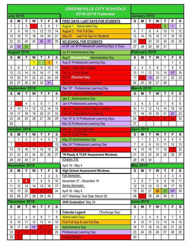 A picture of the school calendar
