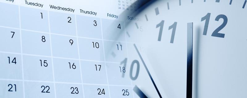 Design concept, a calendar and a clock, overlapping,