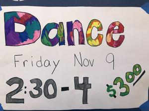 Dance Poster for November 9th from 2:30 - 4