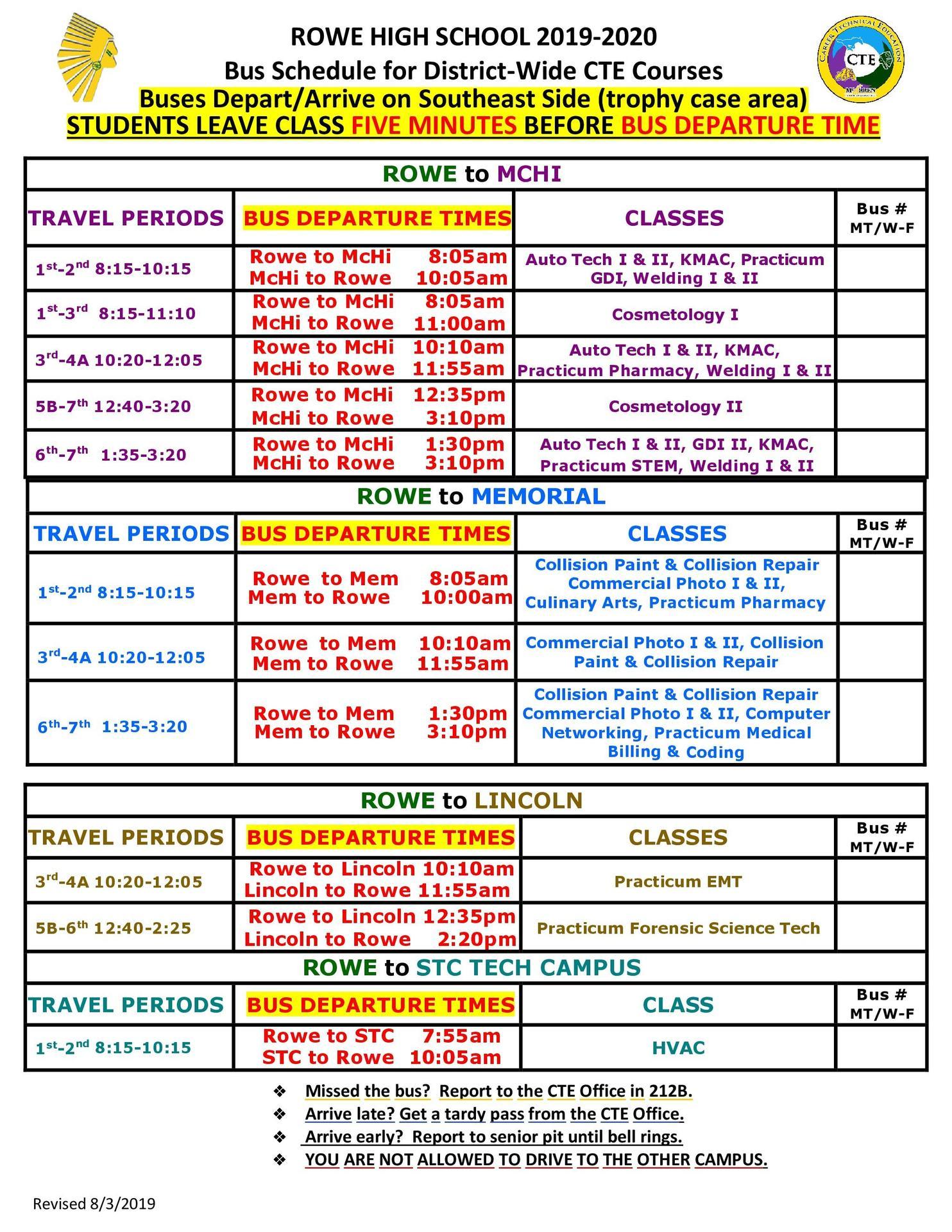 Rowe CTE Bus Schedule