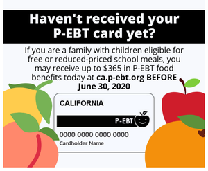 Families with children who are eligible for free or reduced-price meals and who do not get their P-EBT card in the mail by May 22 must apply online before Tuesday, June 30, 2020.