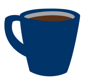 Navy blue coffee mug filled with coffee