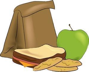Paper bag lunch apple sandwich cookies