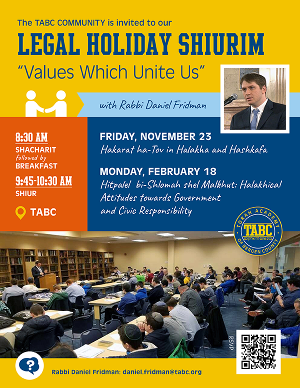 JOIN US FOR OUR LEGAL HOLIDAY SHIURIM! Thumbnail Image