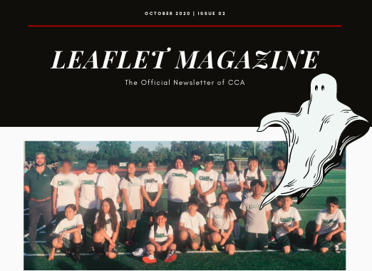 A picture of the cover of the October issue of CCA News with students standing around with Mr. Holm and a ghost clipart image.