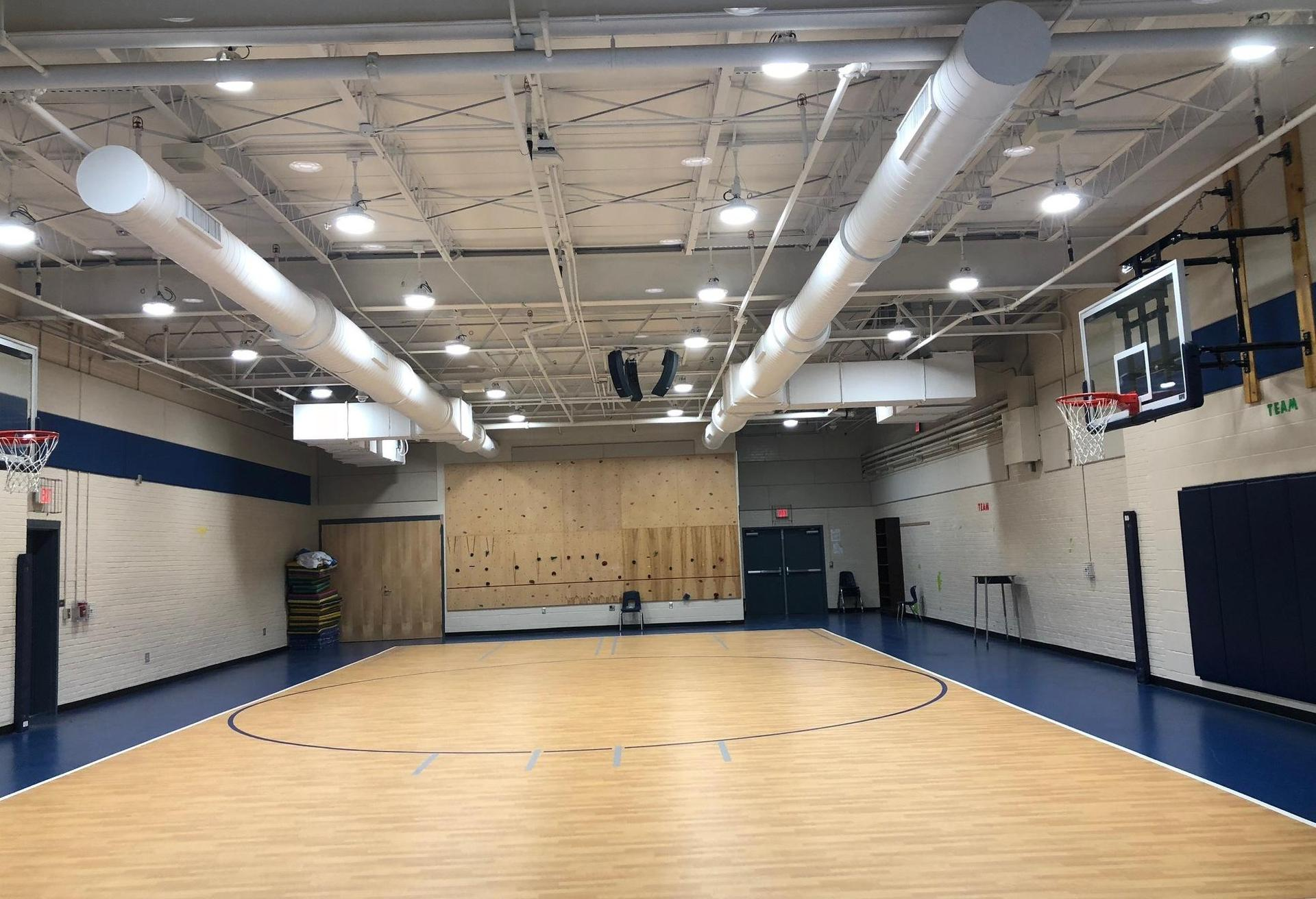 Interior view of new gym at Congaree Elementary