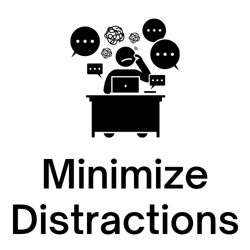 "Image of person at desk with distractions with ""Minimize Distractions"" under it."