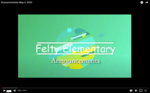 graphic reads Felty Announcements