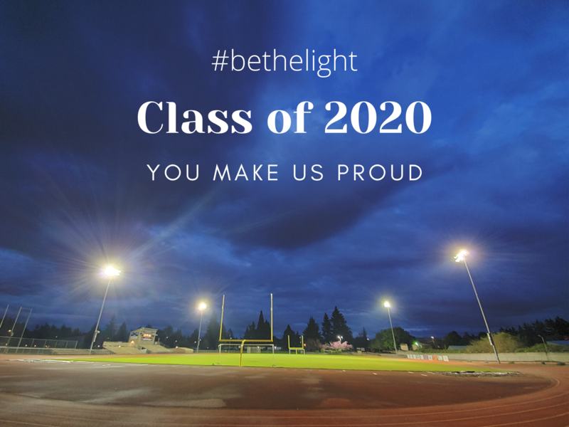 Lights on the athletic field with #bethelight text