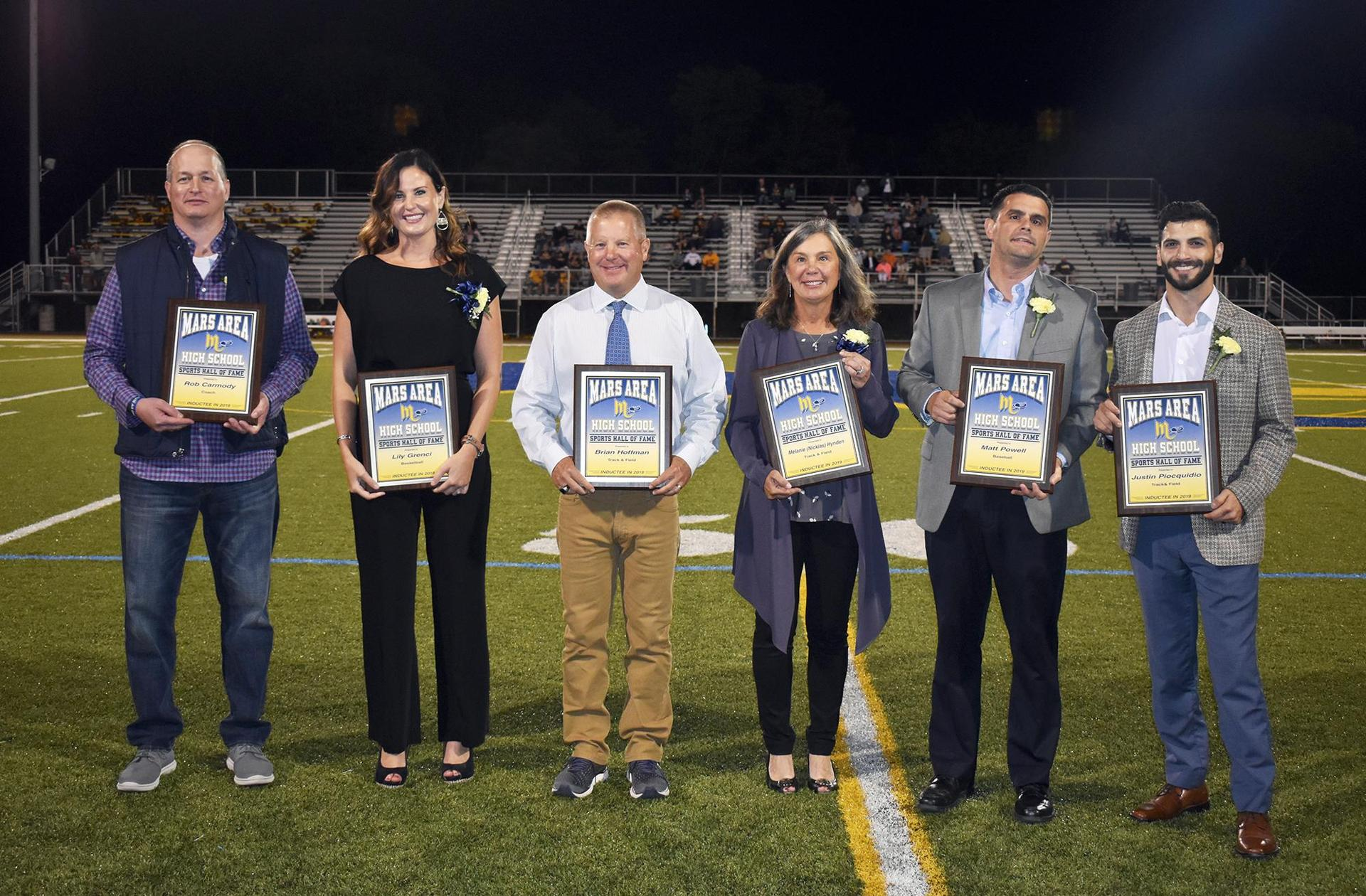 Members of the Mars Area High School Sports Hall of Fame Induction Class of 2019
