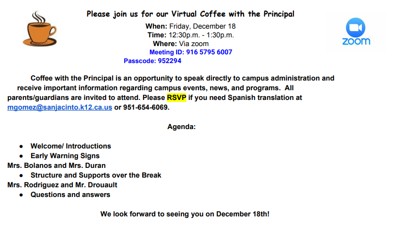 December 18 Coffee with the Principal