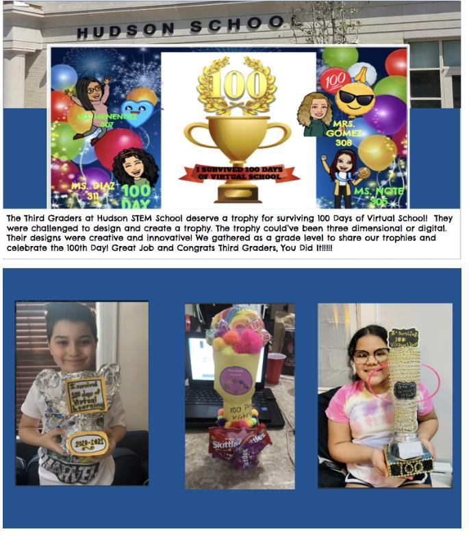 3rd graders with trophies collage