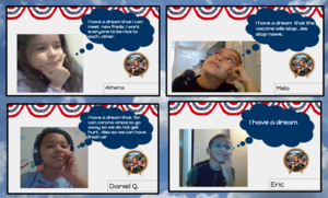 Students with dream thought bubbles collage