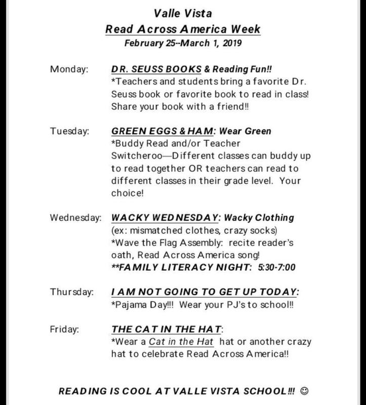 Read across America dress up days at Valle Vista elementary school