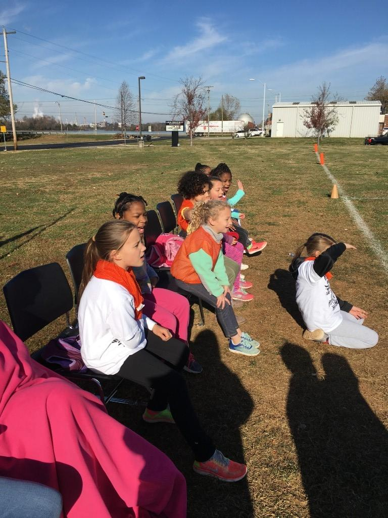 3rd Grade girls cheering and waiting to play - Turkey Bowl 2017.