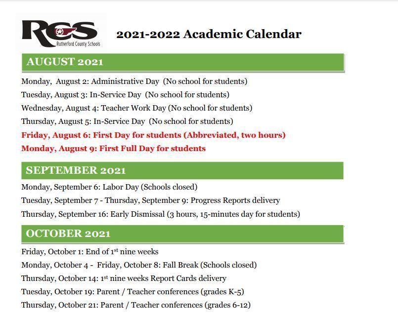 2021-2022 1st Semester Calendar