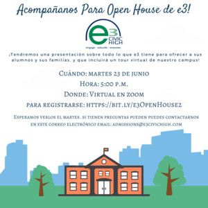 Open House de e3, martes , 23 de Junio a las 5:00 pm