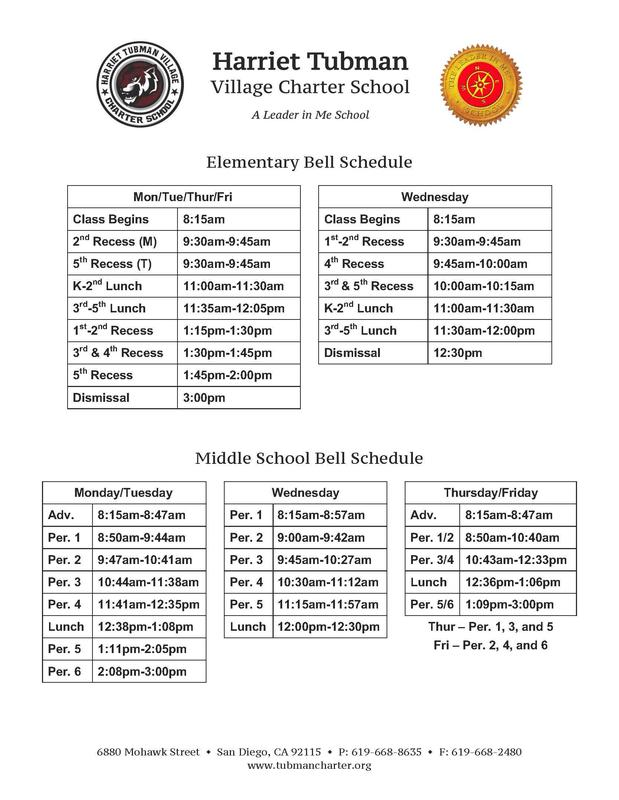 2019-2020 Tubman Bell Schedule Featured Photo