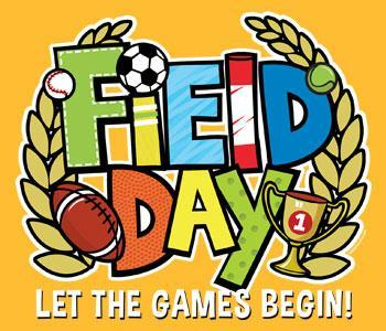 Field Day text with football, soccer ball and trophy image.