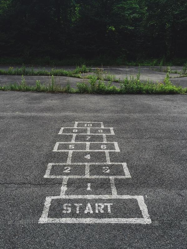 Hopscotch court in schoolyard