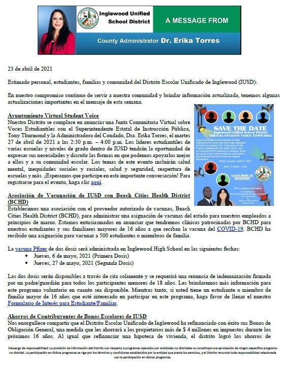 Comunicación a Padres, Familias, y Comunidad de IUSD - 4-23-2021 Featured Photo