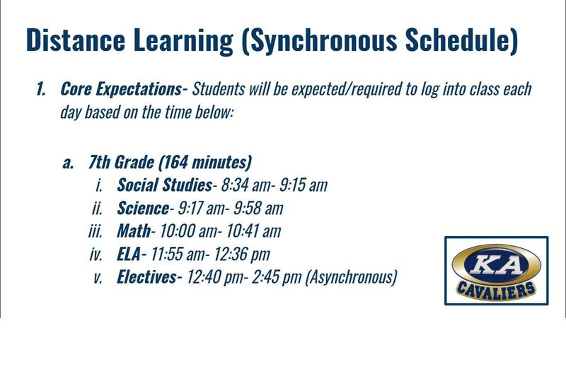 7TH GRADE SYNCHRONOUS SCHEDULE - 2020-2021 Featured Photo